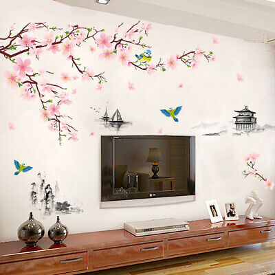 £6.55 • Buy Blossom Flower Tree Branch Wall Art Stickers Cherry Blossom Decals Mural Decor