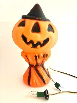 $44.99 • Buy Halloween Decor Pumpkin With Witches Hat Vintage Blow Mold Light 14