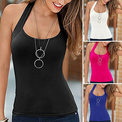 £7.99 • Buy Womens Sexy Halter Neck Vest Tops Summer Casual Backless Strappy Vest Tank Top