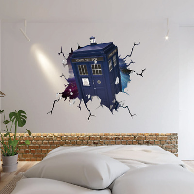 Doctor Who Tardis Smash Through Wall Sticker Vinyl Art Decal 3d Effect Bedroom • 14.99£