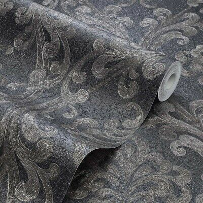 Exclusive Sparkle Platinum Black/Gold Damask Glitter Wallpaper (P106) • 7.99£
