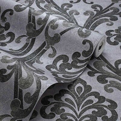 Exclusive Sparkle Platinum Grey/Black Damask Glitter Wallpaper (P104) • 7.99£