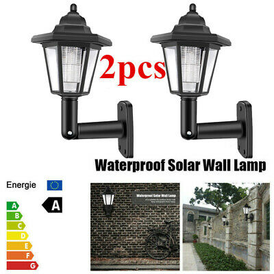 2 X Solar Powered LED Outdoor Garden Fence Wall Lantern Light Lamp Light Sensor • 11.98£