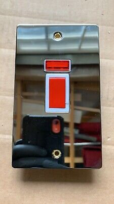 £6.79 • Buy 45A Double Pole Switch + NEON. Polished Chrome. Flat Plate. Cooker Switch