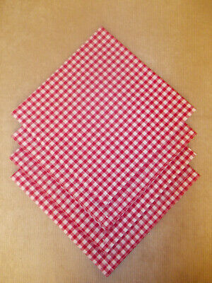 £6.50 • Buy Napkins Set Of 4 Red Gingham Fabric 19  X 19  Square (65% Poly 35% Cotton)