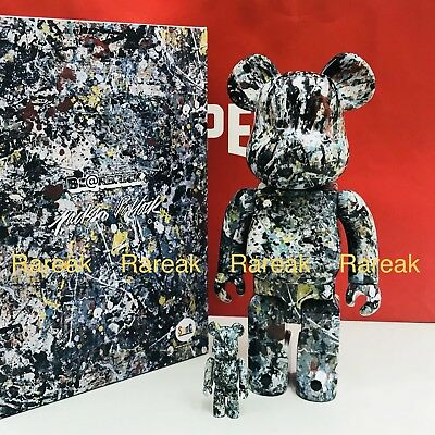 $458.99 • Buy Medicom 2018 Be@rbrick Jackson Pollock 400% + 100% Black Ver 2.0 Bearbrick Set