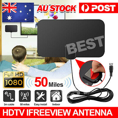 AU10.95 • Buy Digital HDTV Freeview Antenna With Indoor TV Aerial Amplifier 50 Mile Range Thin