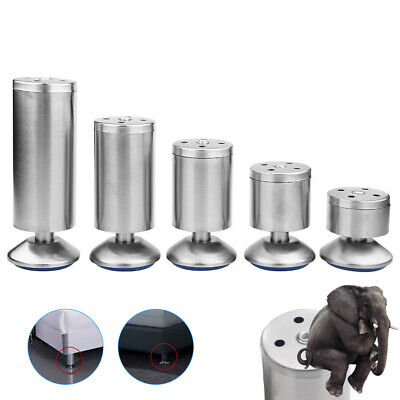 4x Stainless Steel Furniture Legs Sofa Cabinet Table Adjustable Feet Base 8-20cm • 13.17£