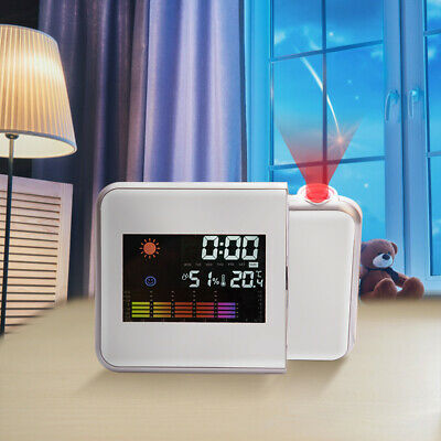 LCD Digital LED Projector Projection Weather Station Calendar Snooze Alarm Clock • 8.89£
