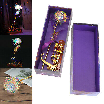 Gold Galaxy Rose Flower Valentines Day Lovers Gift Romantic Flower With Love UK • 5.89£