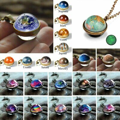 £2.31 • Buy Glow In The Dark Galaxy System Double Sided Glass Planet Necklace Pendant Gifts