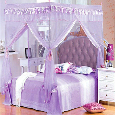 AU28.99 • Buy 4 Corner Poster Bed Canopy Lace Mosquito Net Double Queen King Size Netting
