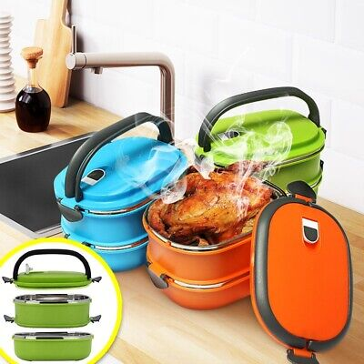AU18.98 • Buy 1/2 Layer Stainless Steel Thermal Insulated Food Container Lunch Box Green ❤