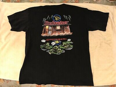 $ CDN63.78 • Buy Budweiser Frogs Cabin Graphic T Shirt Mens XL Made In USA 1990's
