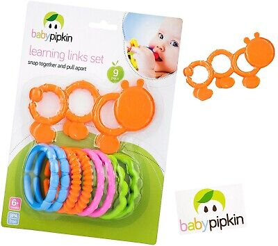 Colourful 9* Learning Links Set  Snap Together And Pull Apart Baby Toddler Teeth • 5.29£
