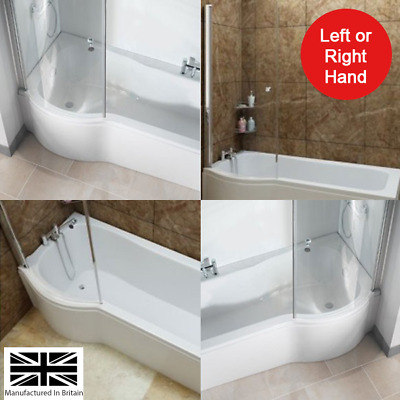 P Shaped Shower Bath Bathroom Left Right Hand Various Sizes Optional Shower Scre • 314£