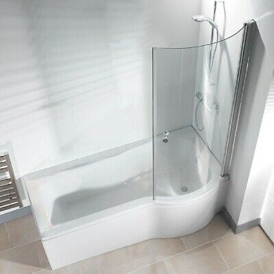 P Shape Shower Bath 1500 1675 1700mm With Screen & Front Panel Left Or Right • 255£