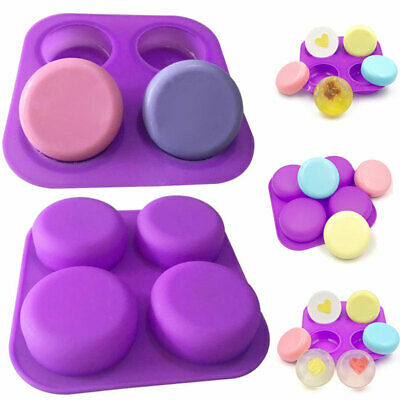 4 Cell Round Pebble Stone Silicone Bath Soap Mold Mould Tray DIY Craft Tool New • 6.02£