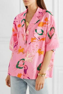 Rhode Oliver Printed Cotton-Voile Blouse Shirt Top Button-Down Pink XS Nw 205743 • 92.20£