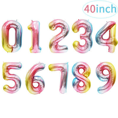 AU11.43 • Buy 40 Inch Large Digit Helium Foil Birthday Party Balloons Number Multi Color