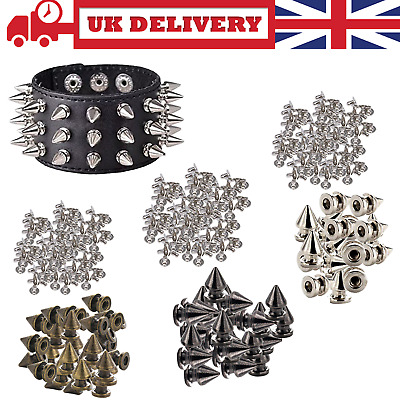 Plastic Punk Studs With Brass Pins Goth Spike Rivets For Fashion Clothes 100pcs • 3.39£
