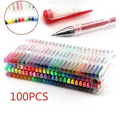 100 Colours Set Gel Pens Art Books Markers Glitter Neon Metallic Art Pens New • 13.39£