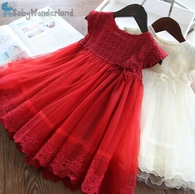 AU29.95 • Buy New Girls 2 Colours Christmas Red Lace Party Tulle Dress Skirt Clothes Size 2-7Y