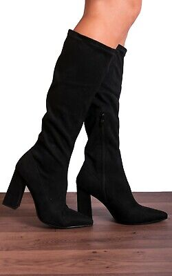 Black Sock Stretch Knee High Block Heeled Pointed Heels Boots Shoes Size 3-8 • 24.95£