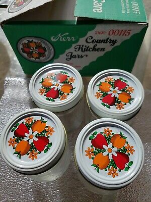$24.88 • Buy Kerr Country Kitchen Decorated Jars 12 Oz Jelly Jars NOS  VTG × 4  Decorated Lid