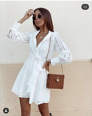 $64 • Buy Nwt_zara Ss20 Embroidered Mini Dress Oyster White Ref. 2731/053 Xs-xl