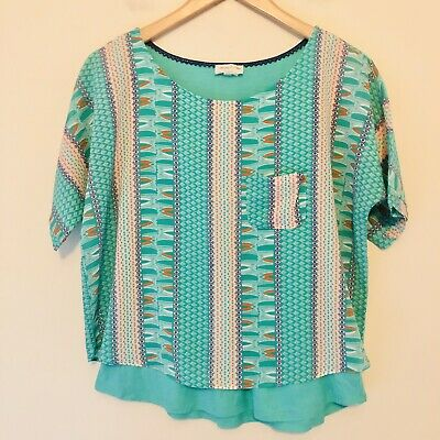 $ CDN8.15 • Buy Anthropologie Meadow Rue Womens Size XS Zane Tee Layered Pocket Tribal Green 783