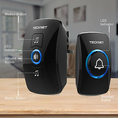 TECKNET Wireless Doorbell Wall Plug-in 32 Door Chime 820-feet Range Home Shop • 10.99£