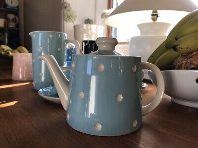 TG Green Domino Baby Blue Teapot + Pair Teacup & Saucer MADE IN ENGLAND - RARE • 64.95£