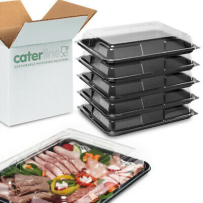 5 X Medium Catering Platters/Trays & Lids | For Sandwiches, Buffets And Parties • 10.14£