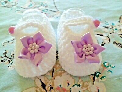 Hand Crochet Baby Booties/shoes 0-3 Months/8 Cm Sole • 2.50£