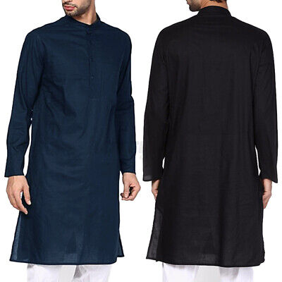 Mens Kurta Blouse Slim Fit Kaftan T-shirt Casual Tops Loose Shirts Tunic Kaftan • 11.43£