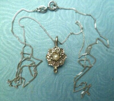 Edwardian 9ct White Gold & Rose Cut Real Diamonds And Seed Pearl Pendant & Chain • 100£