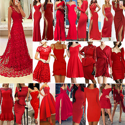 Women Red Sexy Ball Gown Party Dress Evening Cocktail Bridesmaid Wedding Dresses • 20.59£