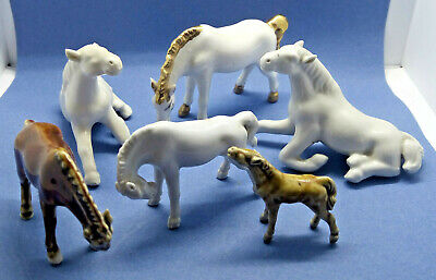 Vintage Porcelain Figurine Horse Pony Herd Six Equestrian Riding  1960's • 12£