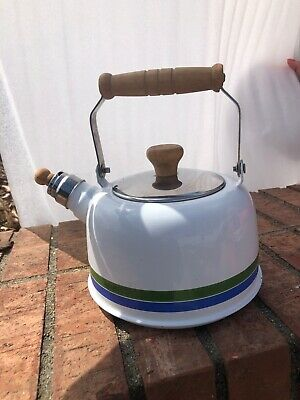 $10 • Buy Vtg White Striped Enamel Teapot Wood Handle Kitchen Enamelware Tea Kettle Japan