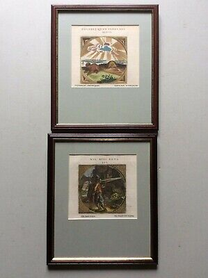 Pair Of Framed Coloured Engravings From 'Jacob Cats Dutch Proverbs' 1726 • 29.99£