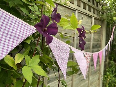 £9 • Buy 🌸 Pink Bunting - Floral Gingham Polka Shabby Chic Decor Pretty Fabric 9ft🌸
