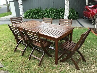 AU405 • Buy 7 Pc Outdoor Dining Setting Wooden Patio Furniture Extendable Table & Chairs Set