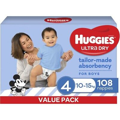 AU40 • Buy Huggies Ultra Dry Nappies Boys Size 4 Toddler (10 - 15kg) - 108 Pack
