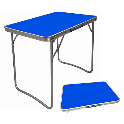 Wooden Portable Picnic Table Mdf Blue Folding Table Indoor Outdoor Camping Hike • 19.99£