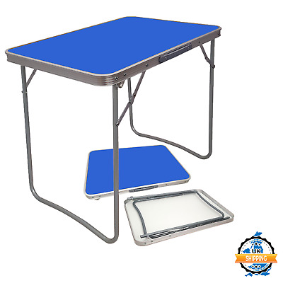 Wooden Portable Picnic Table Mdf Blue Folding Table Indoor Outdoor Camping Hike • 16.99£