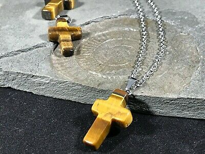 Tigers Eye Cross Pendant Necklace Healing Gemstone Chain Gift For Her Giftbag • 3.99£