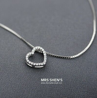 $9.95 • Buy Sterling Silver Cubic Open Heart Pendant Necklace 18  Chain Mother Women Gift S2