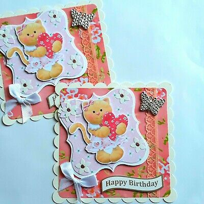 BIRTHDAY CARD TOPPERS Cute Cats Hearts Lace & Butterfly Card Embellishments • 2£