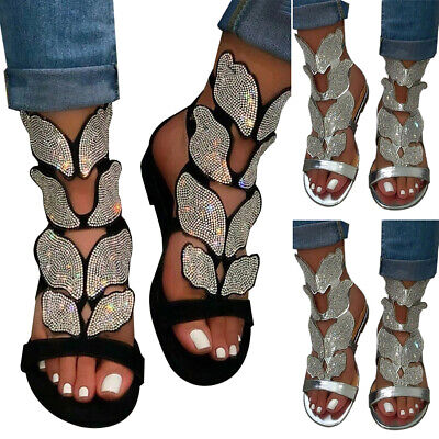 Women Rhinestone Gladiator Synthetic Diamond Flat Summer Glitter Sandals Shoes • 16.89£